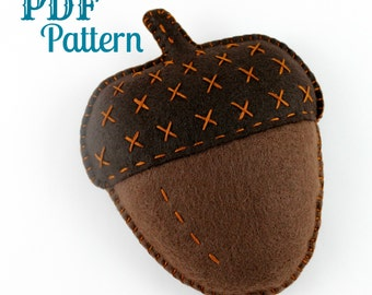Felt Acorn PDF Craft Pattern Toy Softie Plush Autumn Fall Hand Sewing Embroidery