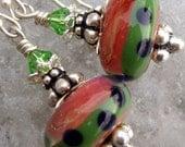 Watermelon Way- Artisan Boro Lampwork And Sterling Earrings- Cynensemble