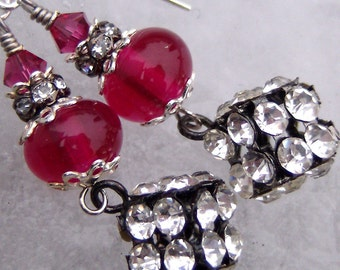 Cranberry and Rhinestone Dice- Artisan Lampwork and Sterling Earrings- Cynensemble