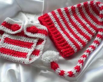 Crocheted Christmas Baby Set, Crocheted Baby Hat, Crocheted Christmas Diaper Cover, Newborn Baby Christmas Set, Crocheted Christmas,