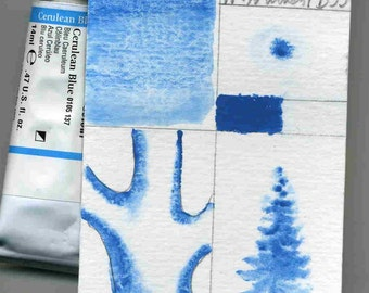 watercolor paint, tube watercolor, Winsor and Newton, Cerulean Blue 14ml professional quality
