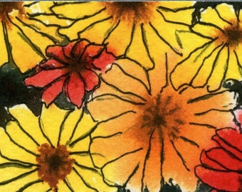 ACEO print, aceo, print, watercolor, floral, flower, daisy, blossom, bloom in warm colors