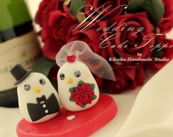 bride and groom birds Wedding Cake Topper (K332)