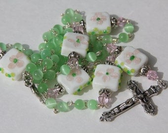 Handmade Catholic Rosary with Lime Green Glass and White Floral Lamp Work Beads, Custom Handmade Jewelry, Gifts under 50,