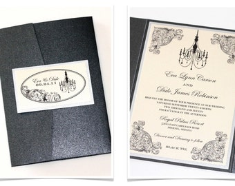 Vintage Wedding Invitation - Elegant Wedding Invitation - Chandelier Invitation - Romantic Wedding Invitation - Ivory, Silver - Eva Sample