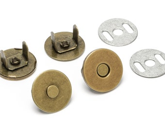 10 Sets Thin Magnetic Purse Snaps - Closures 18mm Antique Brass - Free Shipping (MAGNET SNAP MAG-128)