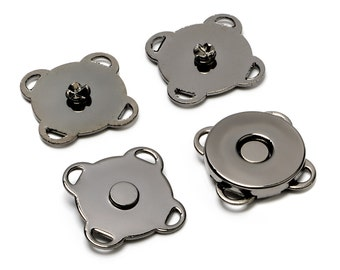 """10 Sets Sewn-On Magnetic Purse Snaps - Closures 14mm 9/16"""" Black Nickel - Free Shipping (MAGNET SNAP MAG-145)"""