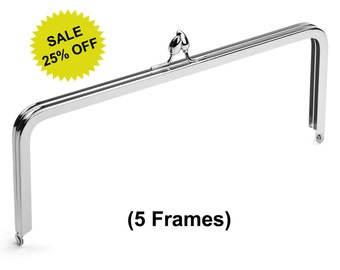 """5pcs - 10"""" x 4"""" Nickel Purse Frame with Teardrop Clasp - Free Shipping (PURSE FRAME FRM-132)"""