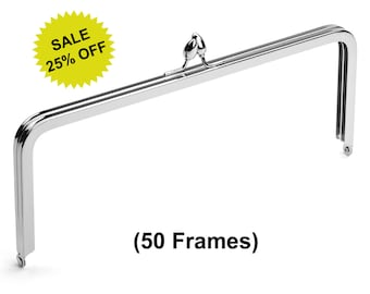 """50pcs - 10"""" x 4"""" Nickel Purse Frame with Teardrop Clasp - Free Shipping (PURSE FRAME FRM-132)"""