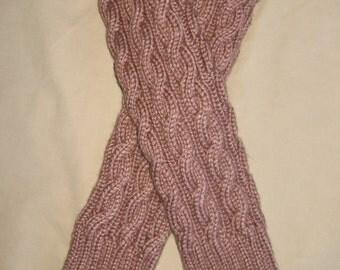 Beige Mist Heather Hand Knit Leg Warmers
