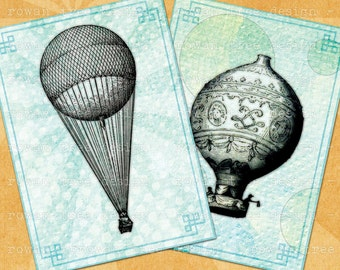 HOT AIR BALLOONS Digital Collage Sheet 2.5x3.5in Printable Download - no. 0098