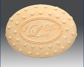 2D Silicone Soap Mold - I Love Mom Oval - free shipping