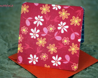 Blank Mini Card Set of 10, Petite Floral with a Contrasting Pattern on the Inside, Metallic Orange Envelopes, mad4plaid
