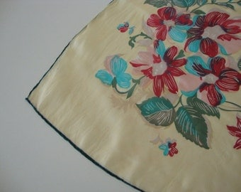 Vintage Scarf large scarf square scarf silk scarf yellow scarf lotus flowers lotus blossom red flowers blue flowers asian oriental design