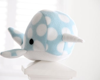 Handmade narwhal plush toy- Dot- Blue polkadot soft fleece whale narwal plushie