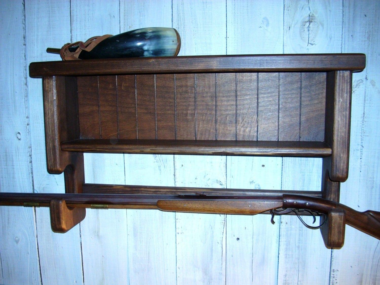 Wall Mounted Gun Rack Double Shelf