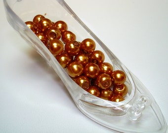 Gold Glass Pearl Round Beads (Qty 35) - B1786