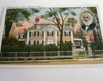 Antique Postcard    Longfellow's Home Cambridge Mass