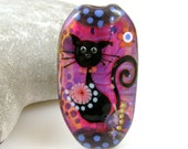 Cocobeads  Black Cat Handmade Lampwork Focal Bead (1)