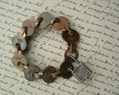 LOCK and KEY Bracelet  VINTAGE Brass Keys