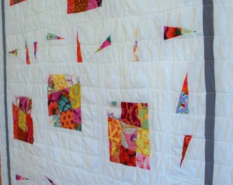 Quilt, MODERN  BRIGHTS, 34 x 40 wonky nine patch