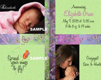 Photo Birth Announcement - Spread your wings and fly