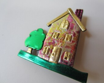 House pin brooch in pink, gold, and silver