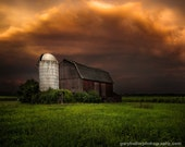 Red Barn and Stormy Sky, Dramatic Light, Rustic Landscape, Old buildings, Barns, Farms, Fine Art color Photogaphy Print, signed.