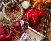 Here Comes the Circus-antique vintage reverse painting and cracker jack charm assemblage necklace