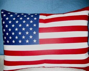 NEW, Flag Pillow, Lumbar / throw pillow, 14x18, ready to ship.
