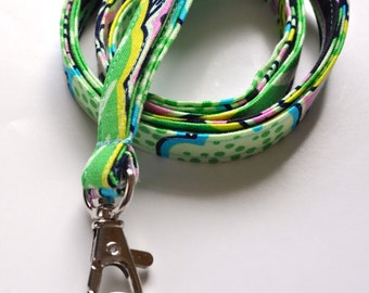 Fabric Lanyard for ID badge, keys etc. in Amy Butler's Lark Dreamer Floral Couture Pitch Grey