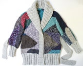 OOAK GEO hand knit chunky cardigan  nr5  unique geometric design in grey and multicolour yarns