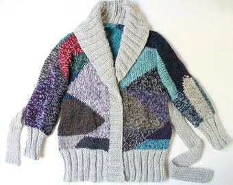 ON SALE ooak GEO hand knit chunky cardigan  nr5  unique geometric design in grey and multicolour yarns