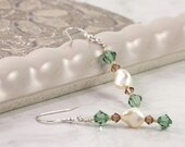 Pearl Earrings Green Cream Topaz Crystal Woodland Sterling Silver Ear Wires