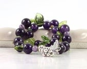 Amethyst Bracelet Green Purple Grape Vine Leaves February Birthday Orchard Wedding Mothers Day Jewelry