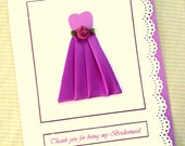 Thank you Bridesmaid Card Wedding party Invitations Maid of Honor pleated mauve
