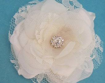 Small Ivory Lace, Organza and Tulle Rose Hair Clip A062- bridal hair accessory