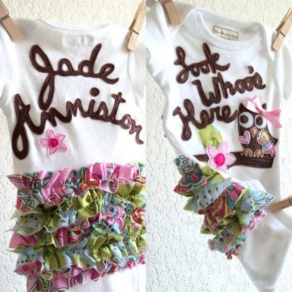 owl one piece personalized new baby shower gift take home outfit