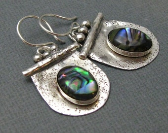 Sterling Silver and Paua Shell Drop Earrings, Artisan Handcrafted Sterling Silver Earrings by Liz Blanchflower