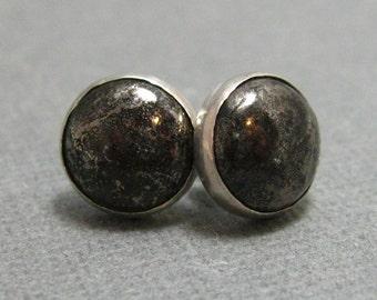 Pyrite and Sterling Silver Handmade Post Earrings, Dark Grey Studs in Sterling Silver