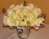 Wedding Centerpiece ivory rose decoration silver wedding centerpiece for tables wedding centerpiece silk flowers winter wedding centerpiece