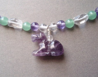 Horse Totem Necklace - Amethyst Clear Quartz Aventurine and Lapis Lazuli Gemstone Beaded Necklace Adjustable Lobster Claw Clasp