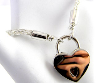 Made to Order Sterling Trichinopoly Slave Collar 3mm Diameter with Heart Padlock