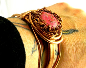 7.5 Sea Sediment Jasper in Fuschia Heavy Copper Bangle