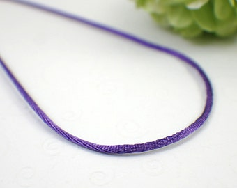 "Purple satin necklace cord single amethyst 13 14 15 16 18 20 22 24 26 28 30 32 34 36 inch "" copper gold silver cord necklace mousetail 1.5mm"