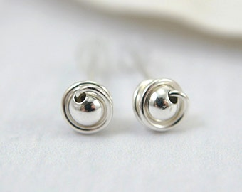 Tiny 925 sterling silver post earrings wire wrapped tiny stud earrings small earrings second piercings round silver bead mini earrings 5mm