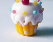 Cupcake Lampwork Bead Lemon Yellow Rainbow Sprinkle Cupcake Focal by keiara SRA