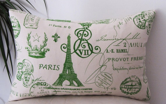 """French Stamp Paris Kelly Green Pillow Cover 12""""x18"""" -  Invisible Zipper - Same Fabric Both Sides."""