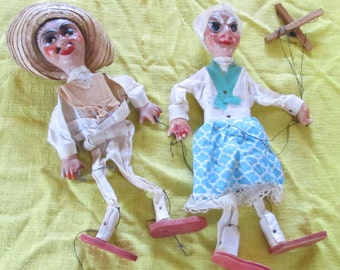 vintage MEXICAN MARIONETTES -- male and female pair--