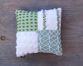 Chenille Pillow - Sweet Pea - Pastel Green White Vintage Chenille Handmade Charm Pillow